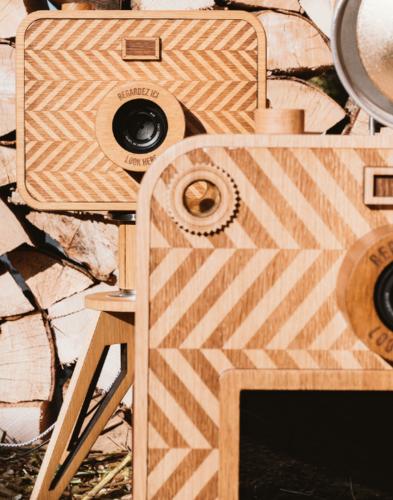 Vue du photobooth en bois dans notre atelier